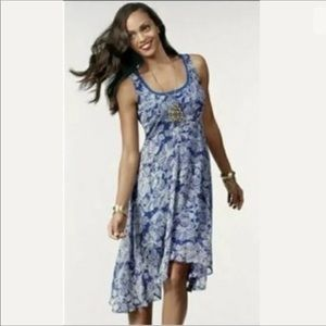 CAbi sz M willow blue white floral layered dress